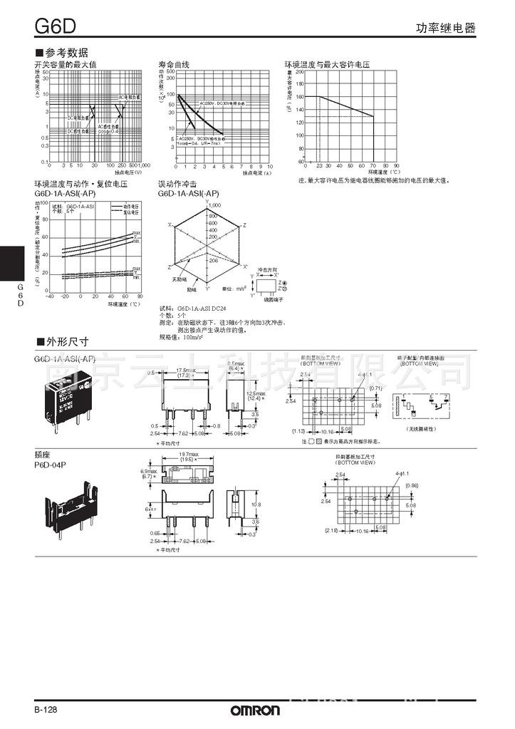 欧姆龙继电器G6D特点如下:  对应高密度安装,面积减少约45%(于本公司G6 B相比) (宽6.5mm×长17.5mm×高12.5mm)  小型继电器,但可做到5A(AC250V、DC30V)的开闭能力  2A(AC250V、DC30V)具有可以实现30万次开闭的高耐久性